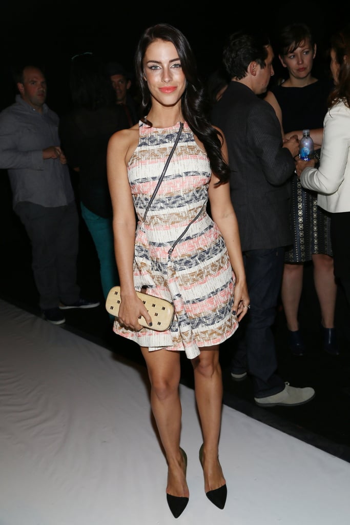 Jessica Lowndes sat front row at the Rebecca Minkoff runway show on Friday.