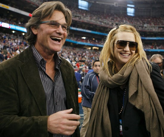 Kurt Russell and Kate Hudson watched the Giants play the Patriots in 2008.