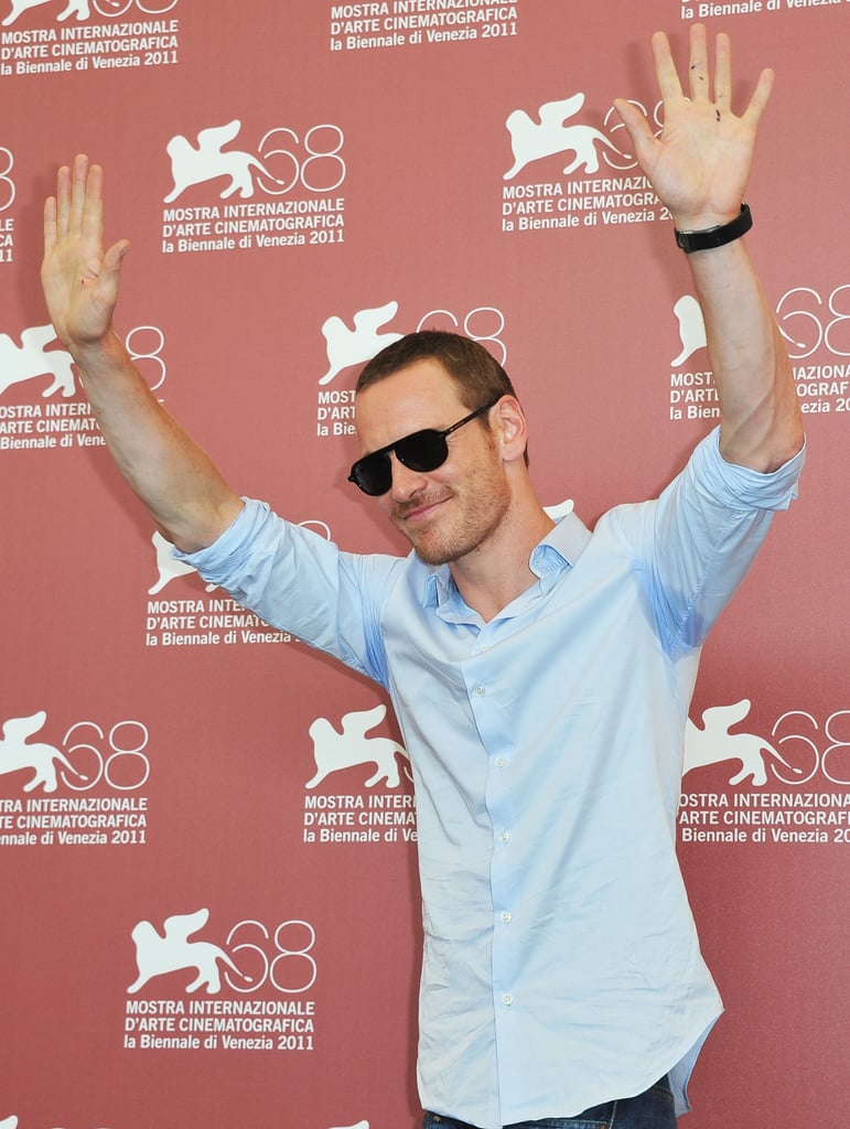 Michael Fassbender showed his excitement for his film A Dangerous Method.