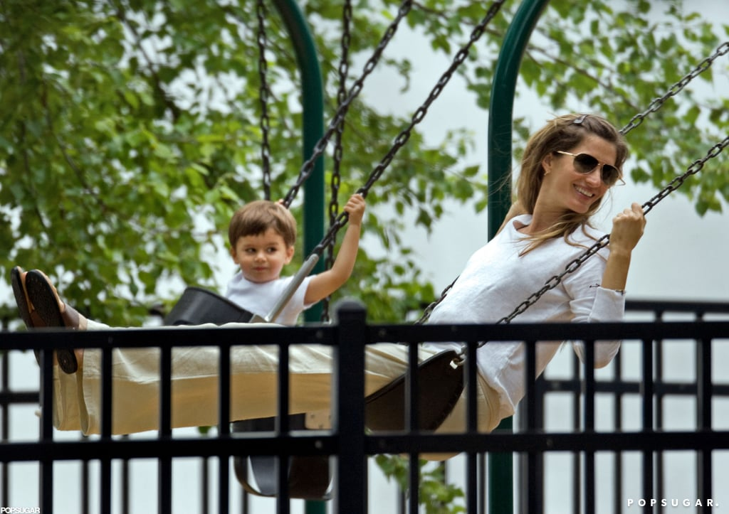Gisele Bündchen and Benjamin Brady enjoyed the swing set in a park in Boston in May.