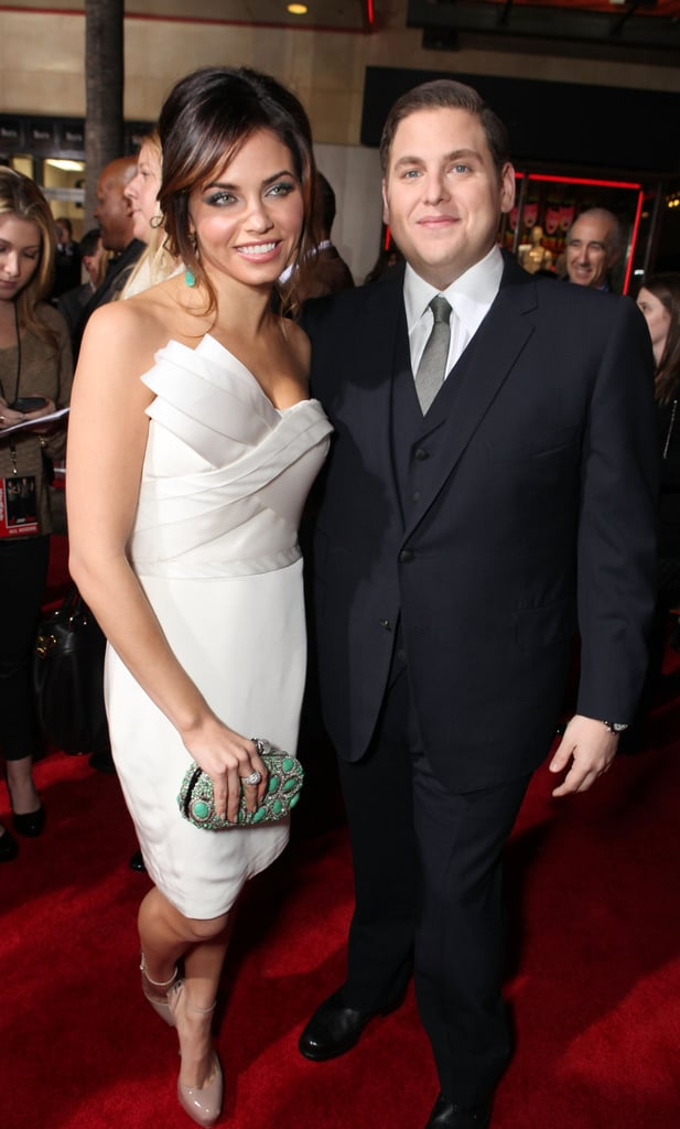 Jonah Hill stopped for a photo with Jenna Dewan.