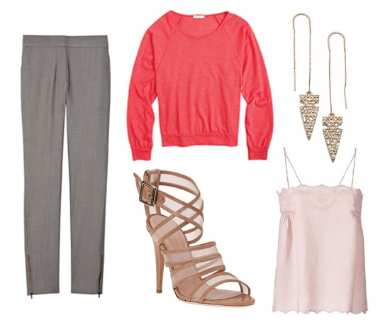 Refined feminine-tailored pants and a soft camisole get a sporty punch from a bright crew neck sweater. sweater ($20) pant ($545) shoes ($390) camisole ($175, originally $250) earrings ($38)