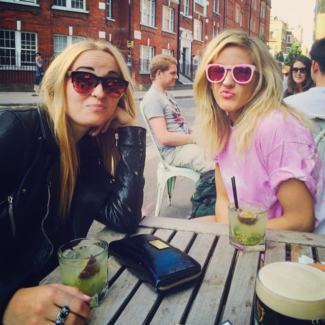 Ellie Goulding was pretty in pink during her pub stop on Saturday.  Source: Instagram user elliegoulding