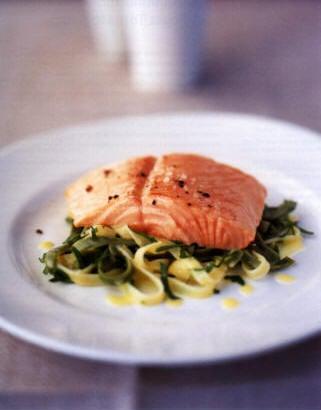 Sunday Dinner: Lemon Baked Salmon with Tagliatelle