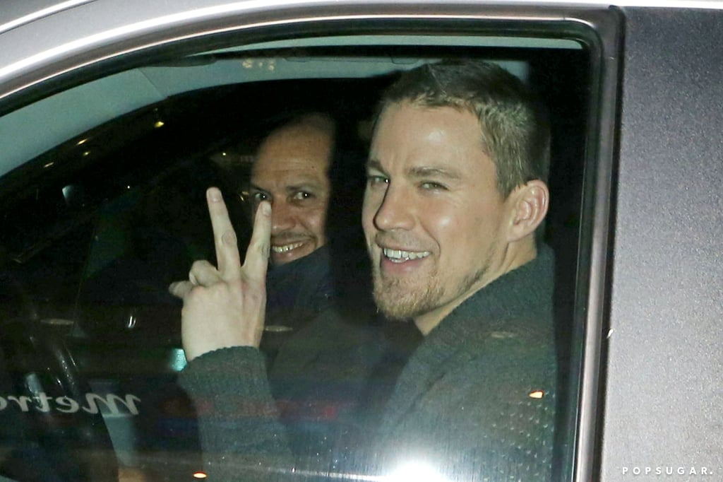 Channing Tatum smiled at cameras while in the car.