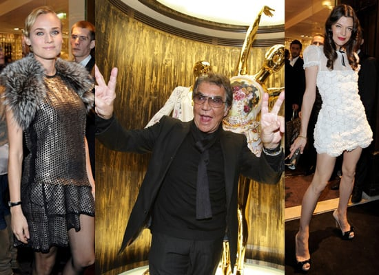 Roberto Cavalli Boutique in Paris, Diane Kruger, Milla Jovovich, Peaches Geldof, Jade Jagger