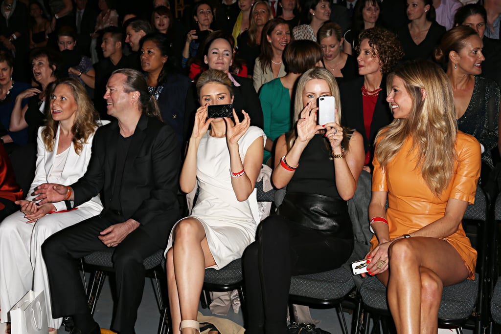 Front row at the Qantas uniform unveil included Neil Perry, Magdalena Roze, Sophie Falkiner and Laura Csortan.