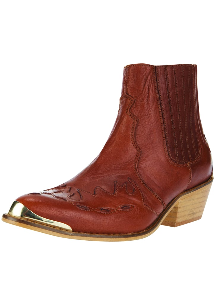 Metal-tipped Western ankle boots from the Topshop Festival Collection for Summer 2013, inspired by Kate Bosworth.