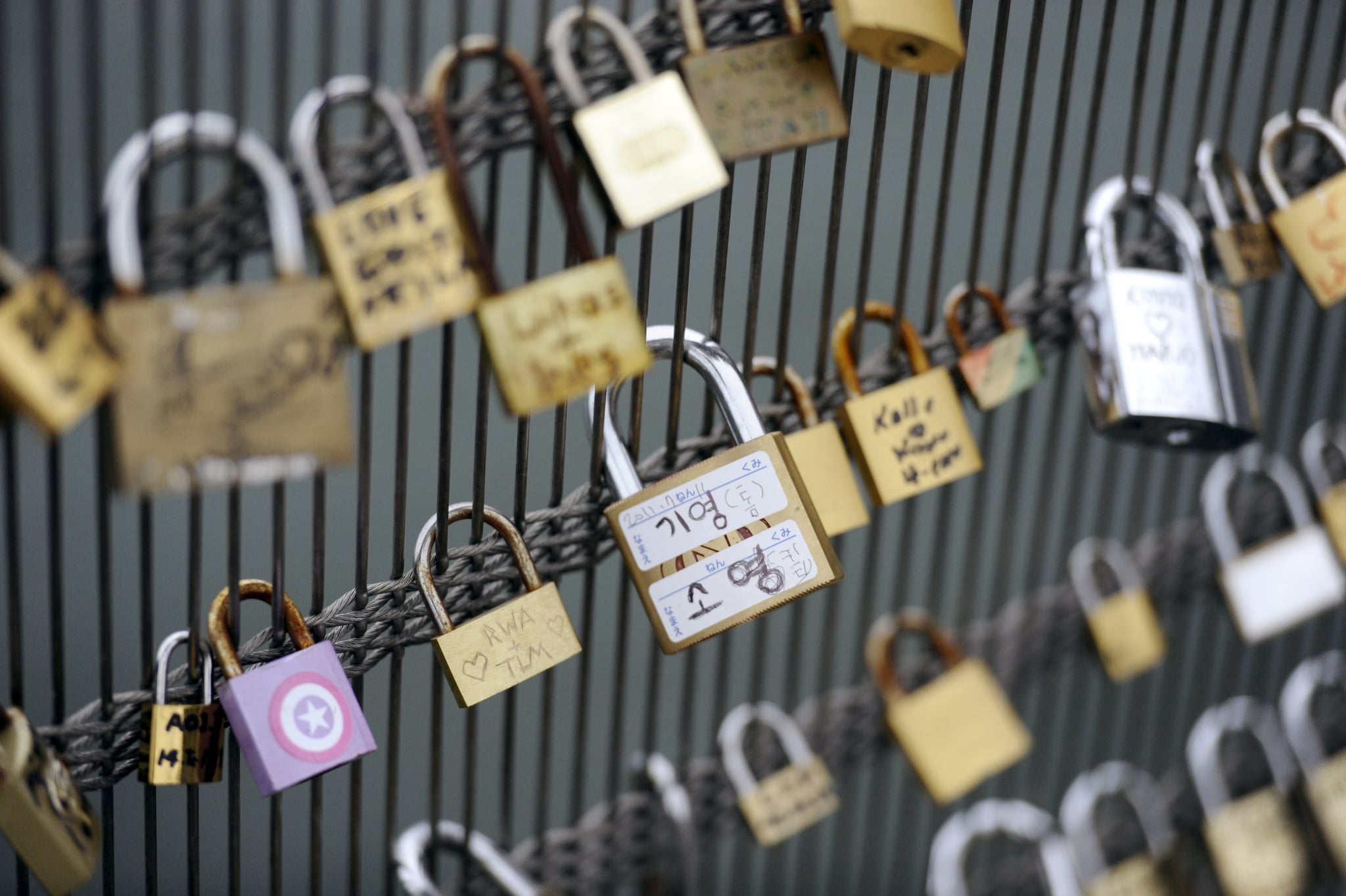 Locks were lined up on the Leopold Senghor bridge in Paris.