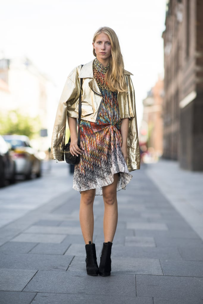 Don't be shy, top off a statement print with a gold moto-jacket for extra emphasis. Source: Le 21ème | Adam Katz Sinding