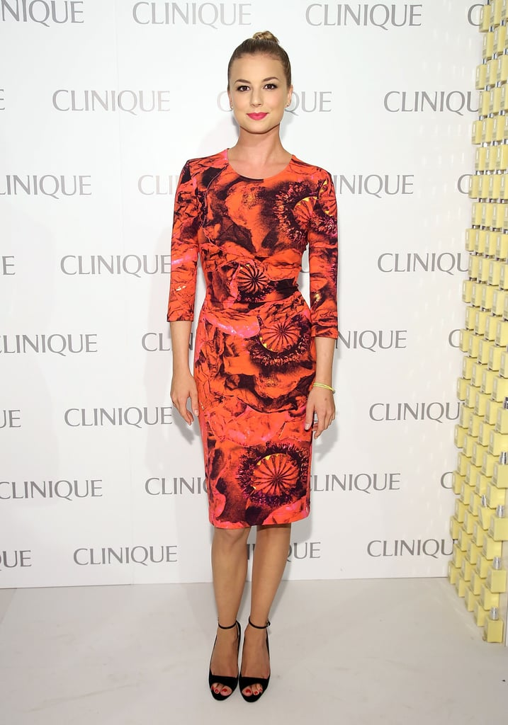 Emily VanCamp mastered bold, bright event wear that's chic — not over the top — in this body-conscious Preen sheath.