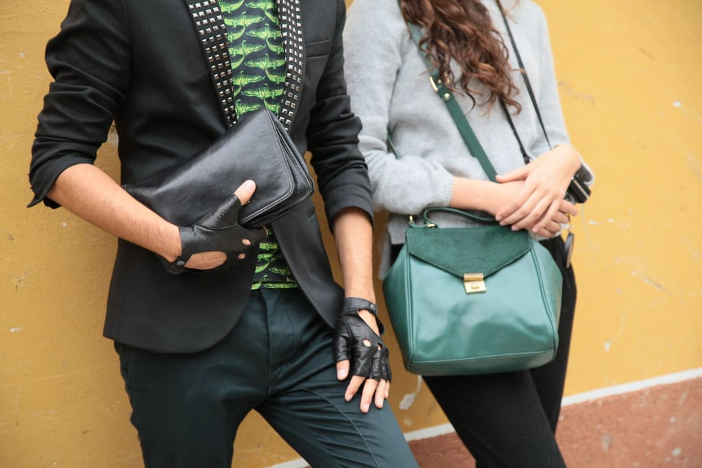 This duo stayed color-coordinated with their add-ons, looking to shades of green and edgy black (even a pair of fingerless gloves) for high impact. Source: Greg Kessler