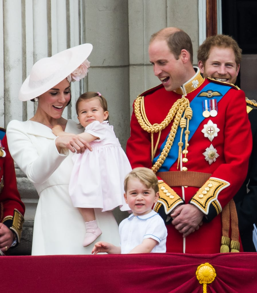 Kate and William happily watched the Royal Air Force fly past with their children, Prince George and Princess Charlotte, during the Trooping the Colour parade in London in June 2016.