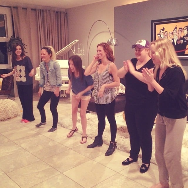 Anna Kendrick gave us a look at what happens during late-night Pitch Perfect 2 rehearsals. Source: Instagram user annakendrick47