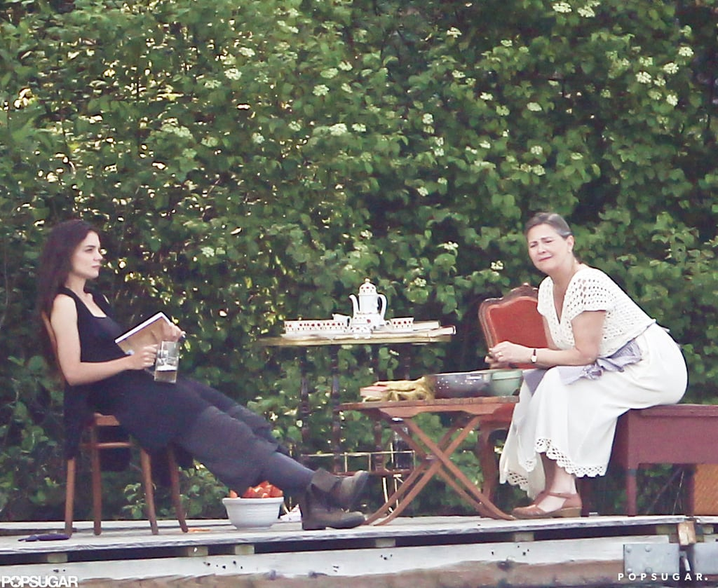 Katie Holmes and fellow actress Cherry Jones sat together on set.