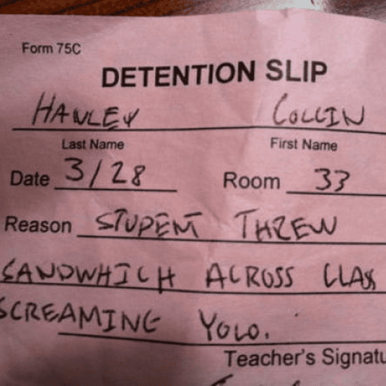 Funny Detention Slips
