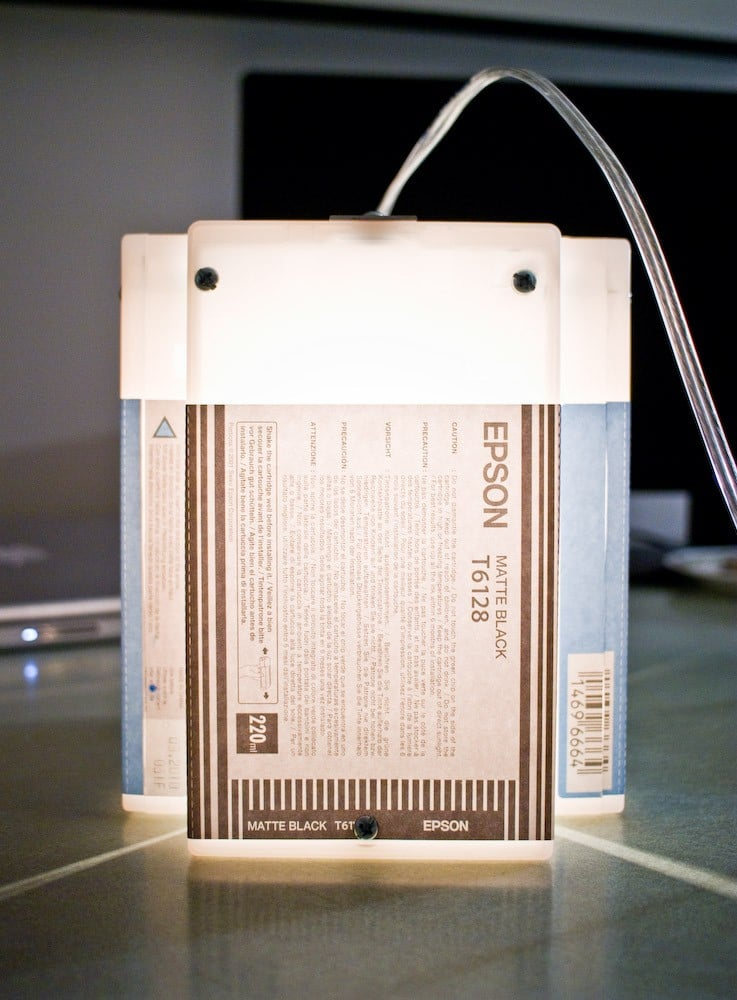 Photos of the Recycled Epson Hanging Light