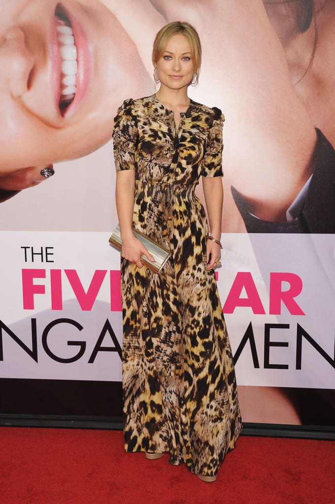 Olivia Wilde channeled her wild side with a pre-Fall '12 Yigal Azrouël animal-print short-sleeve maxi dress. The warm-hued print complemented her new blond locks perfectly and we love that she added pretty Ippolita hoops into the mix, too.
