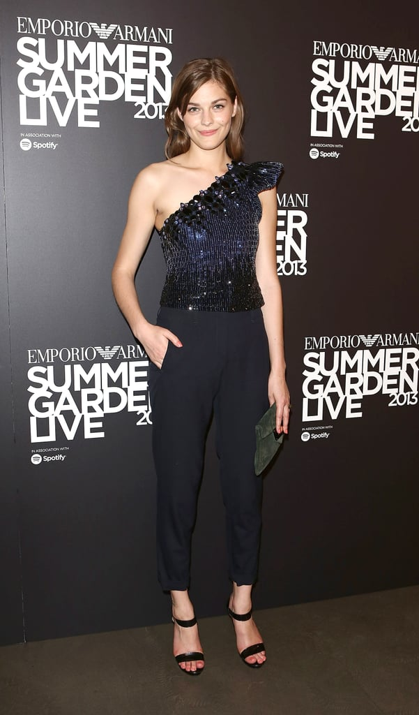 Amber Anderson sparkled in navy at The Emporio Armani Summer Garden Live event.