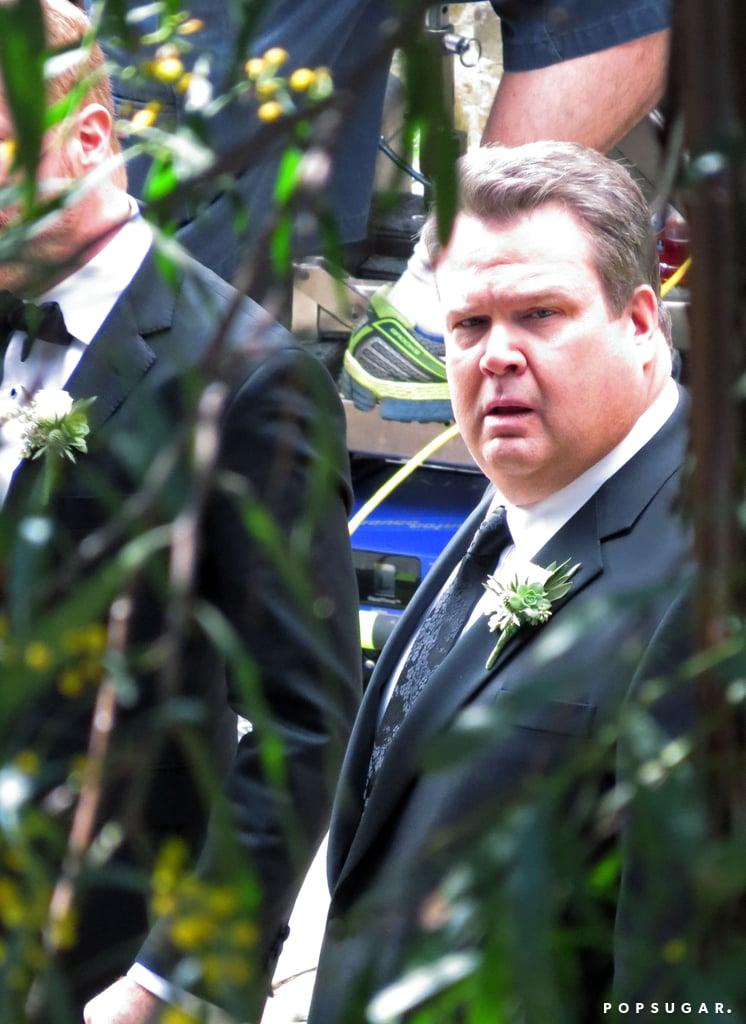Jesse Tyler Ferguson and Eric Stonestreet were on set as Mitch and Cam, the two grooms.