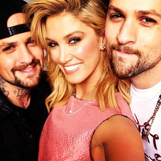 Delta Goodrem got caught in the middle of a Madden brother sandwich! With Benji and Joel in early 2014.