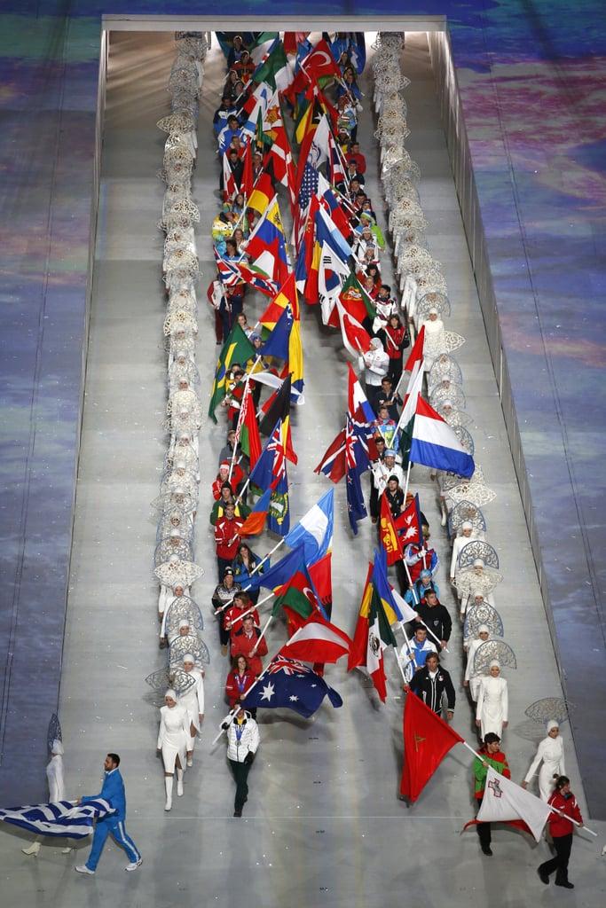 Flag bearers made a special entrance.