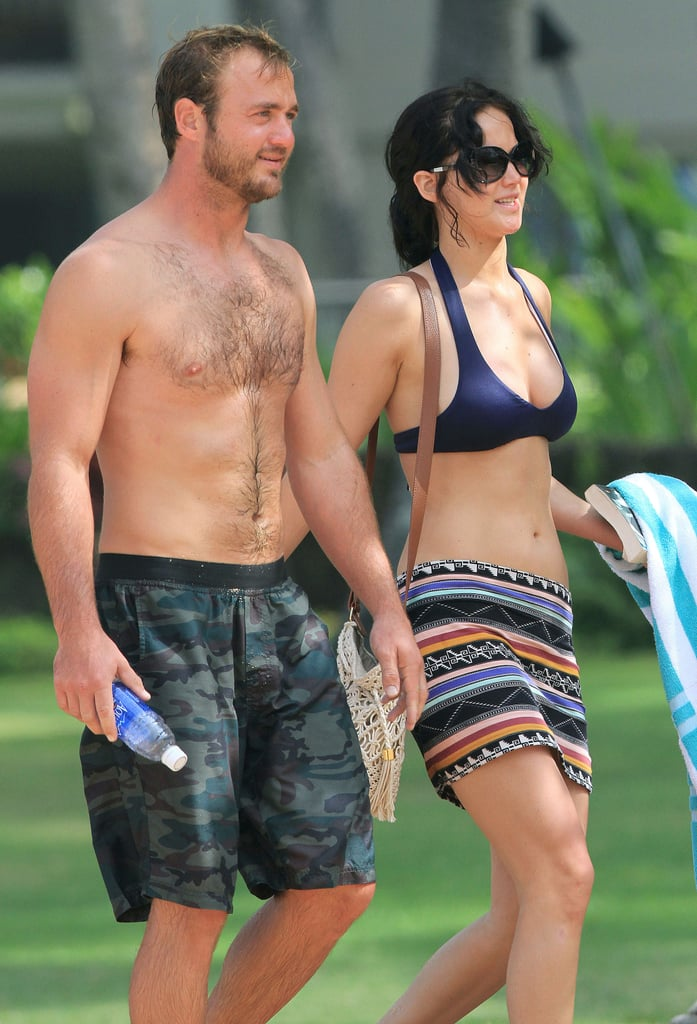 Jennifer Lawrence hit the beach in Hawaii with her brother in November 2012.