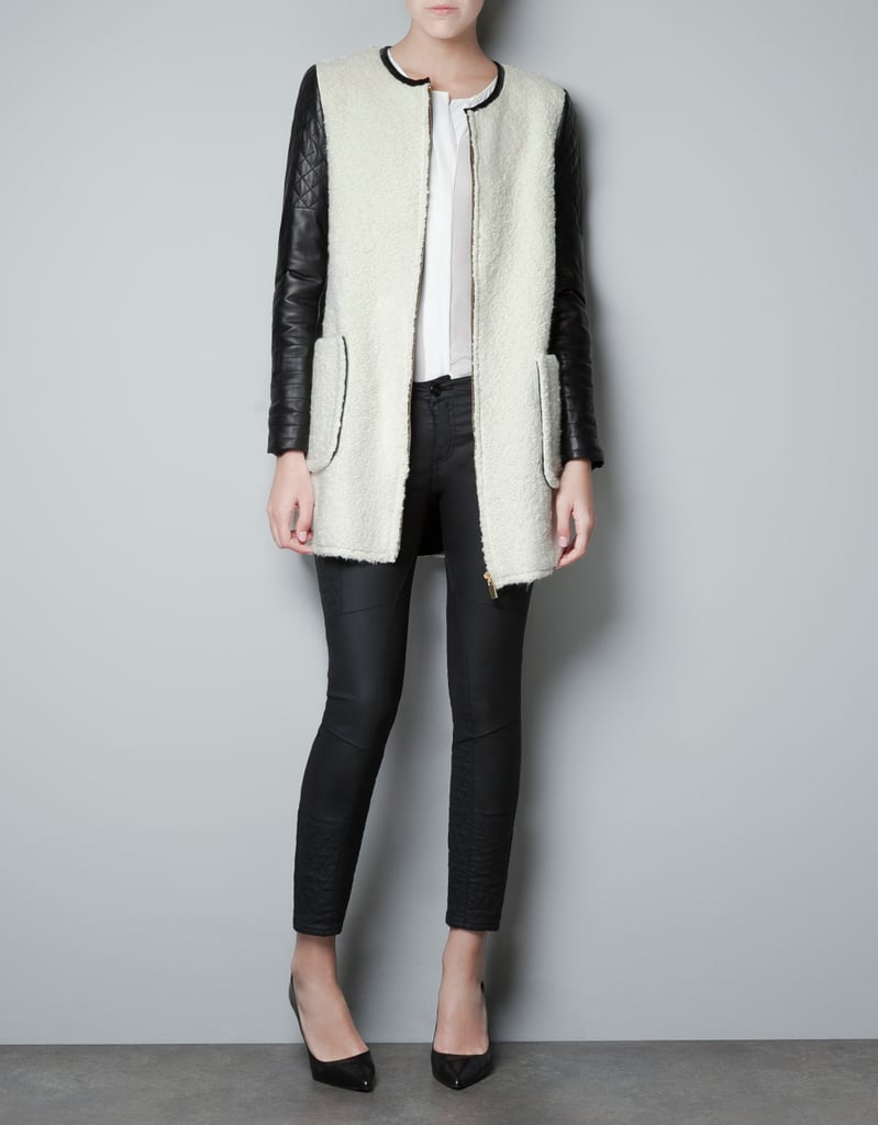 Stay cozy in this shearling and quilted leather Zara Coat ($229). It'll add a hint of style to any outfit.