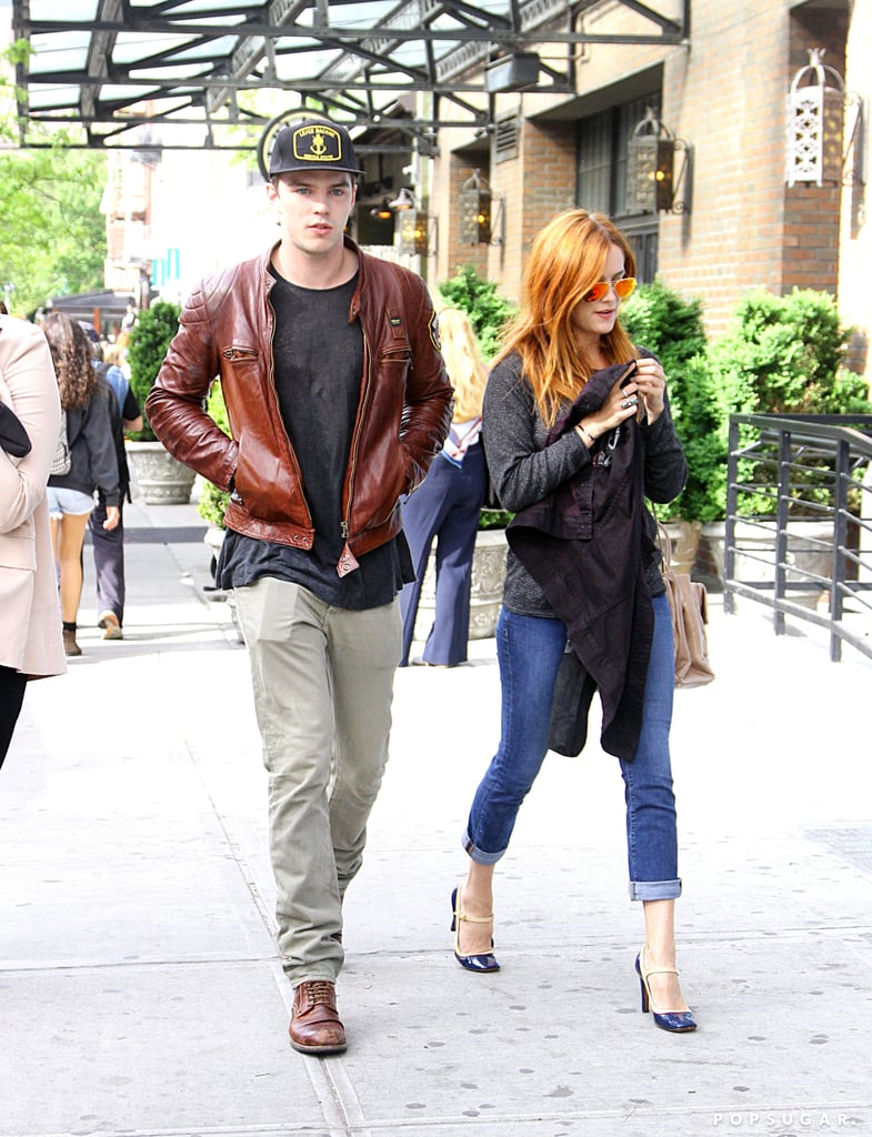 Nicholas Hoult walked in NYC with his co-star Riley Keough.