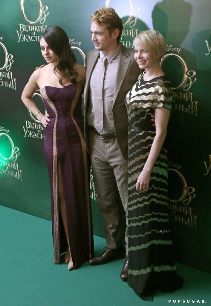 Mila Kunis, James Franco, and Michelle Williams posed at the Moscow premiere of Oz.