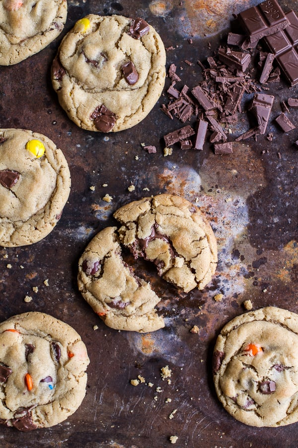 Chocolate Chunk Peanut Butter Cookies With M&M's