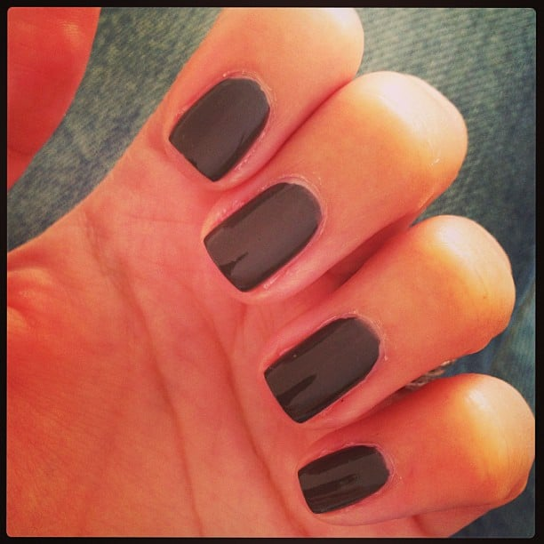 Feeling a little dark and mysterious, Alison opted for Chanel nail polish in Vertigo.