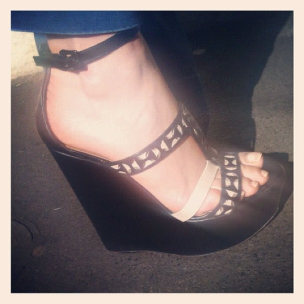 Gasparre Cashmere designer Rebecca McGeoch wore some seriously impressive Alaia wedges to our breakfast catch up.