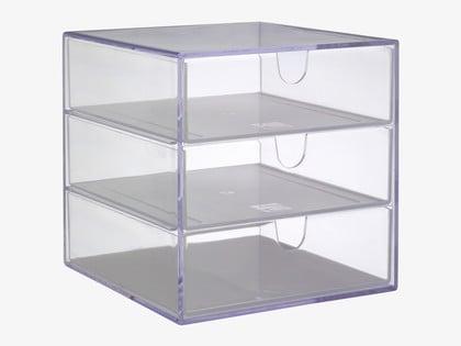 Grey Acrylic 3 Drawer Box