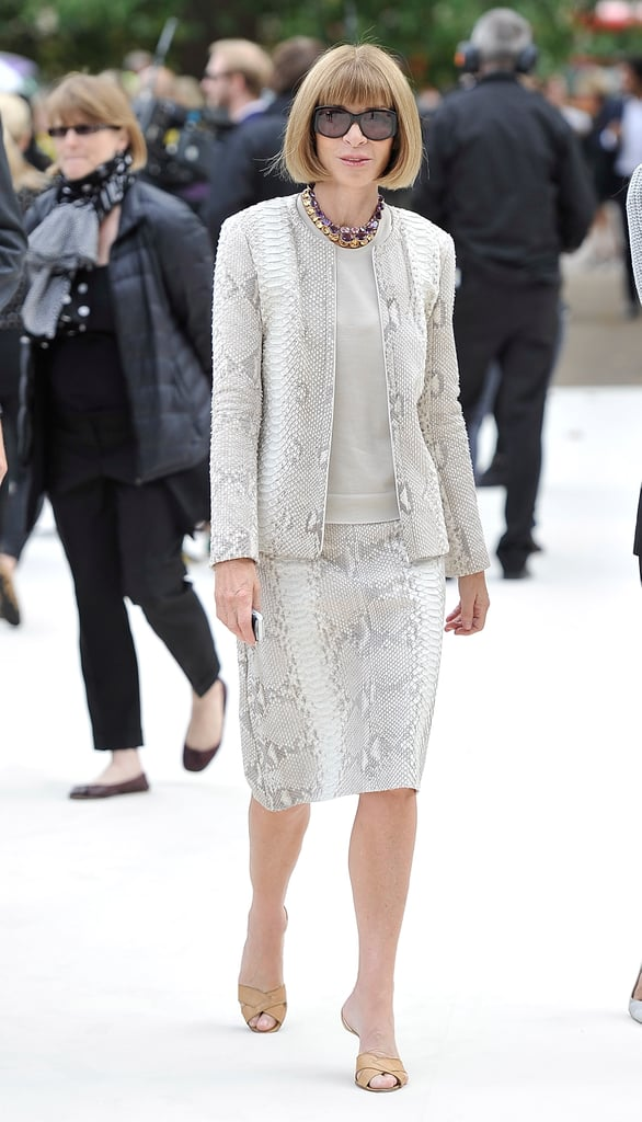 Anna Wintour selected a snake-print skirtsuit at Burberry.
