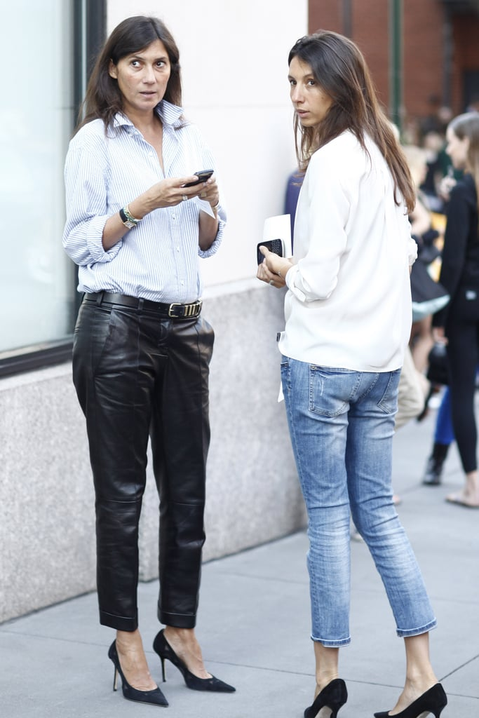 Emmanuelle Alt added a pair of slouchy leather trousers to her staple button-down. Source: Greg Kessler