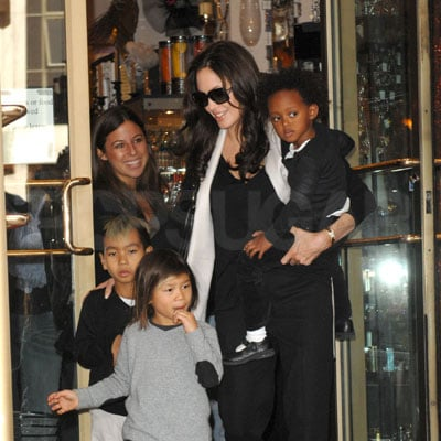 Angelina with Pax, Maddox and Zahara in NYC