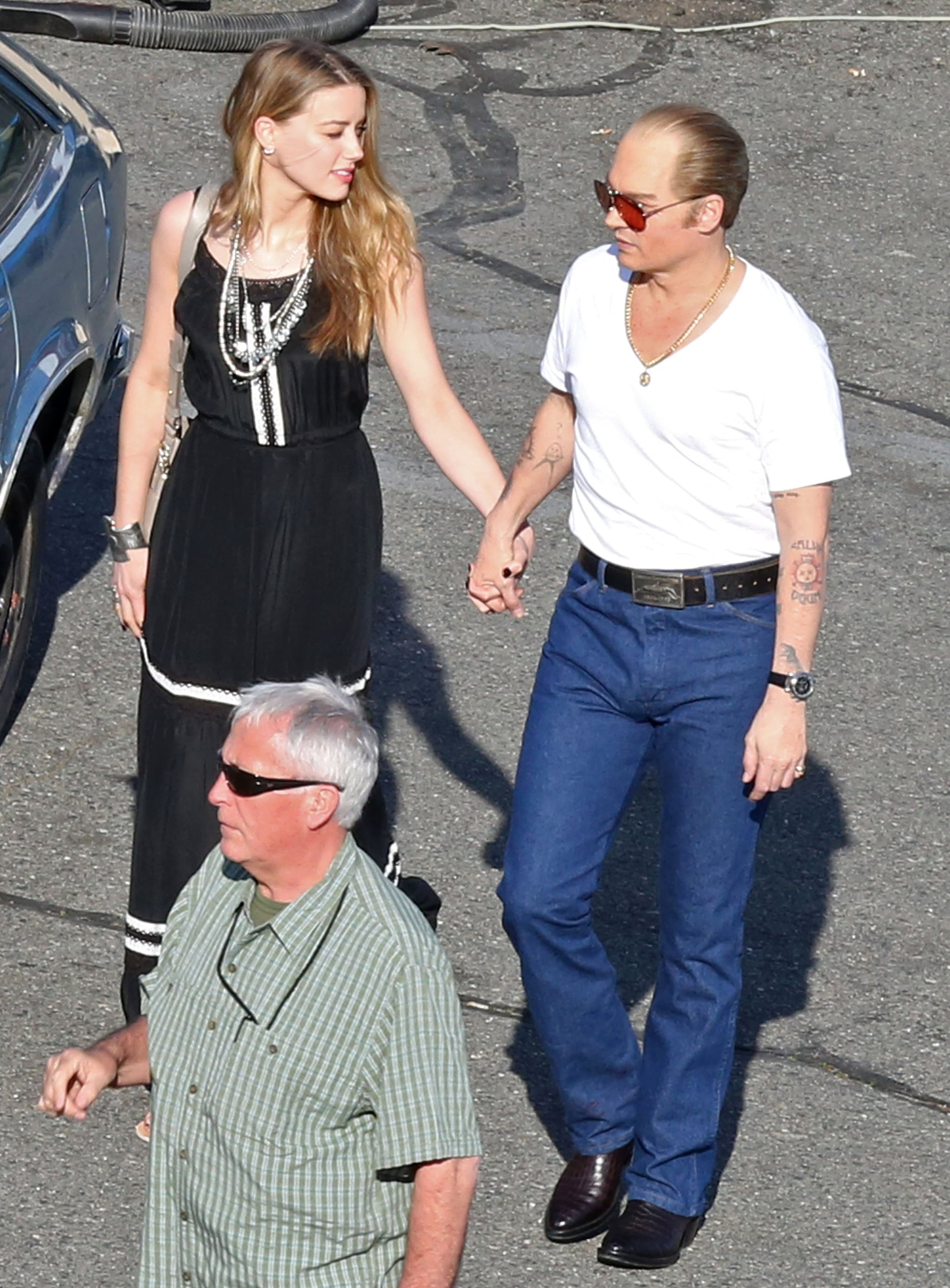 Amber Heard Doesn't Seem to Mind Johnny Depp's New Look