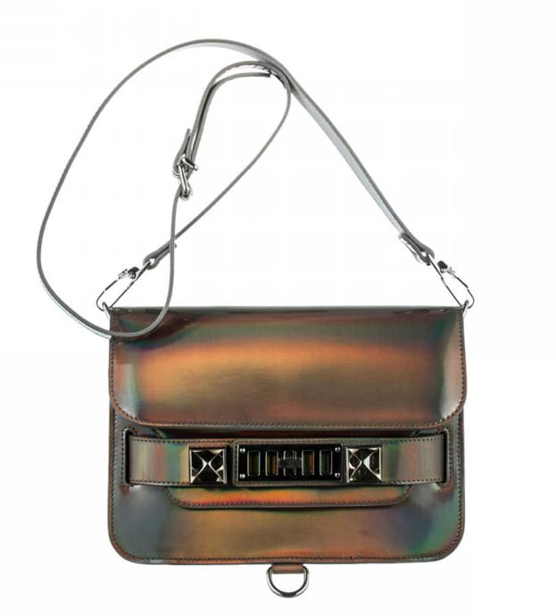 With futuristic, clean lines and an iconic shape, this PS11 Mini Classic Metallic Hologram bag ($1,875) is the perfect example of the latest trend.