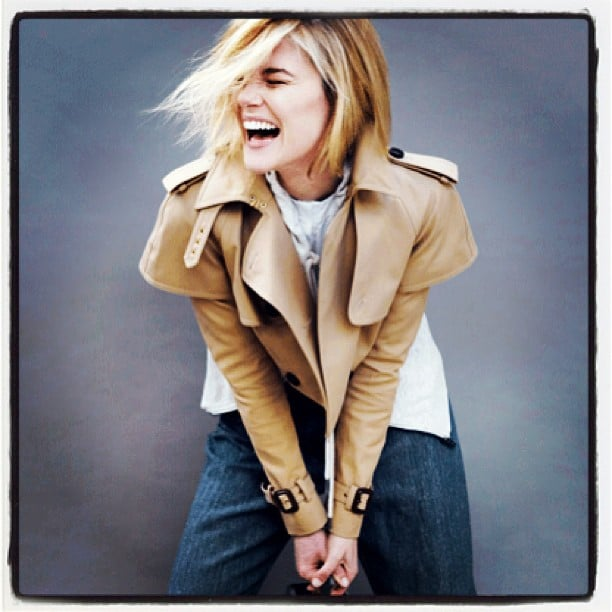 Rachael Taylor (in a Burberry jacket) was the picture of natural beauty in this shot shared by stylist Romy Frydman. Source: Instagram user stylemeromy