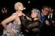 Kelly Osbourne pretended to choke Lady Gaga at the Elton John viewing party.