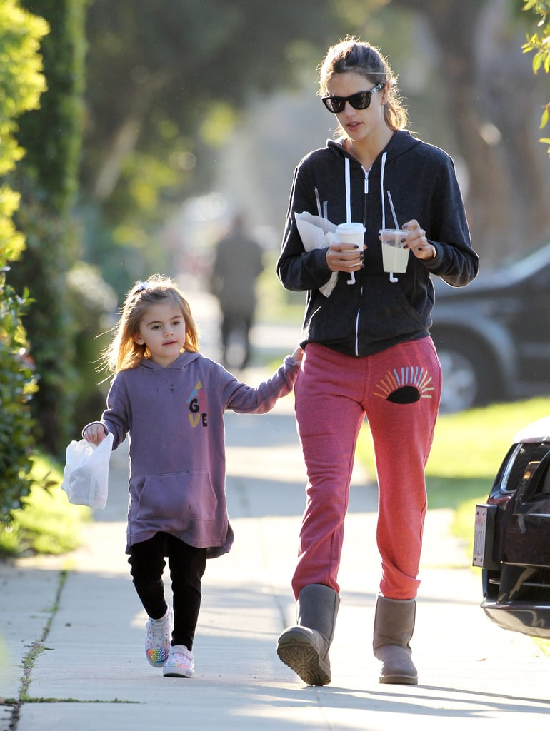 Alessandra Ambrosio and her daughter Anja picked up snacks and drinks together in LA.