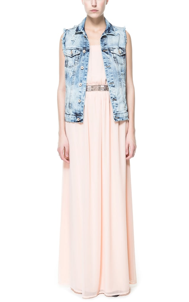 Zara's long strapless dress ($60) features the perfect shade of barely-there blush pink.