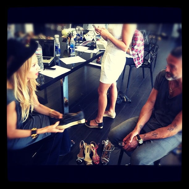 Rachel Zoe got down to business editing her Spring shoe collection. Source: Instagram user rachelzoe