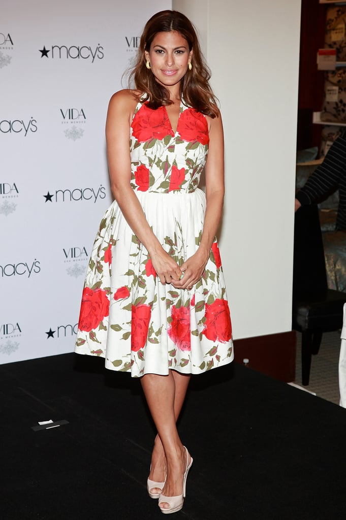 Even back in 2009, Eva followed her fabulous fashion formula. At an event at Macy's, the actress sported a vintage-inspired rose-print halter dress with white peep-toe slingbacks, creating a chic, ladylike look perfect for Summer.  6933806