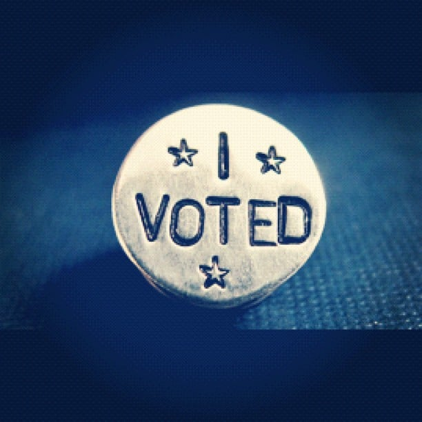 """Voting advocate Diddy wore a fancy """"I Voted"""" pin. Source: Instagram user Iamdiddy"""