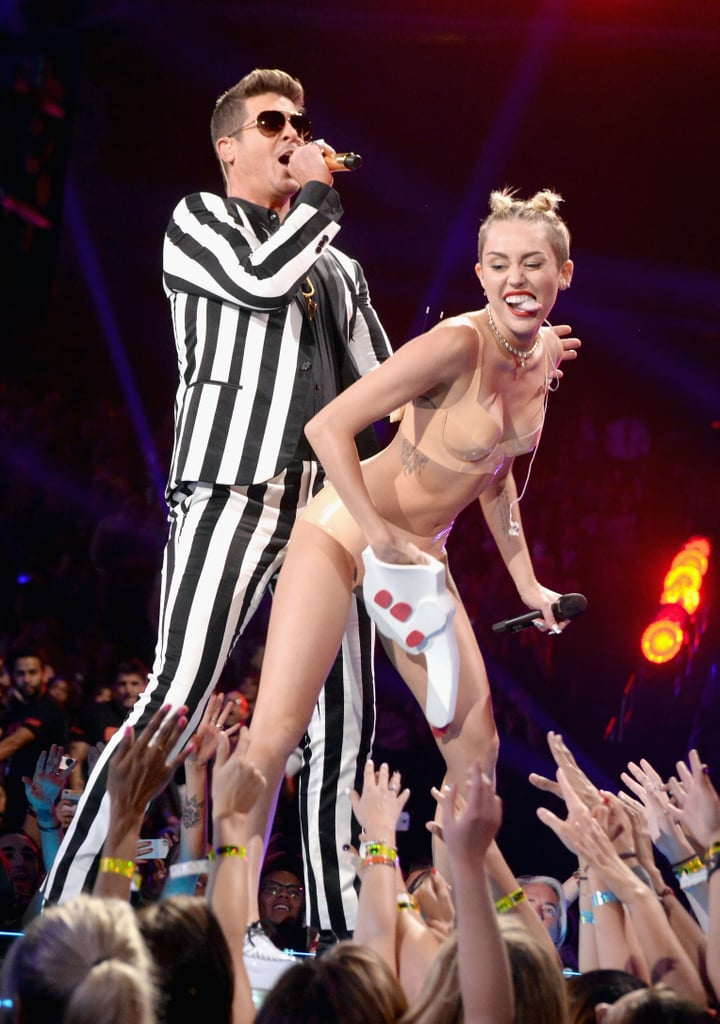 If people weren't aware that Miley Cyrus was done with her Hannah Montana days, they probably figured that out when she performed at the MTV Video Music Awards on Aug. 25. Miley became an instant watercooler topic when she grinded up against Robin Thicke during their joint performance at the award show while wearing little more than a rubber lingerie set and a foam finger.