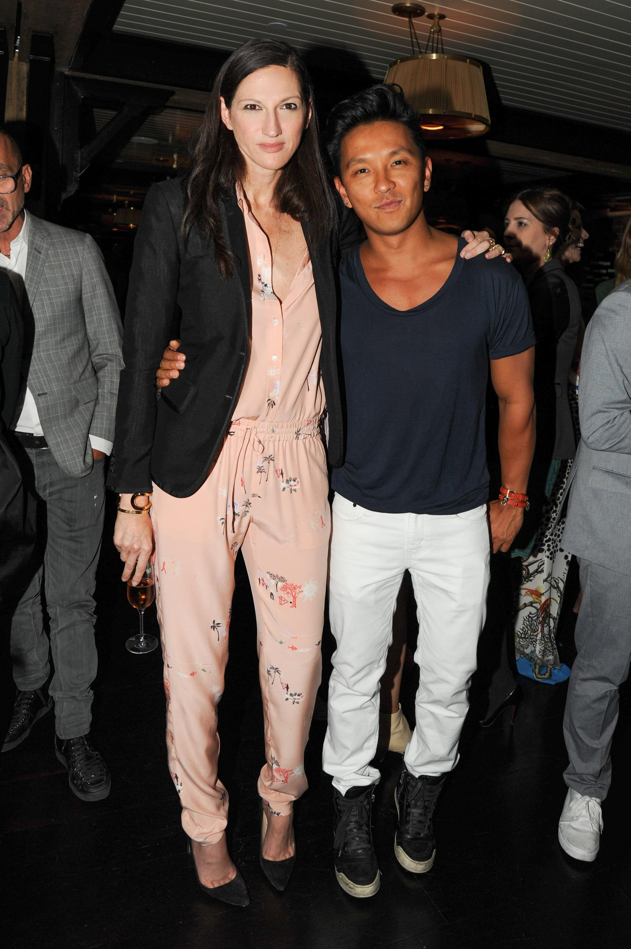 A silky peach jumpsuit got nighttime appropriate for a J.Crew party with designer Prabal Gurung thanks to the addition of a tailored blazer.