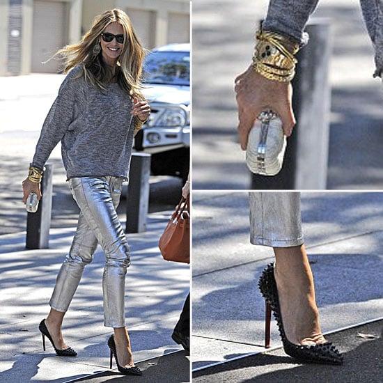 Elle Macpherson Wearing Metallic Pants