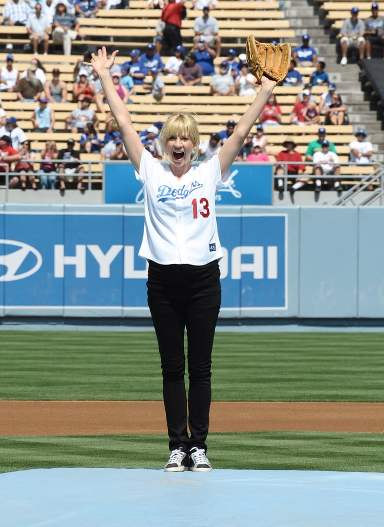 Jenna Elfman was pleased with her pitch at the LA Dodgers game in September 2009.